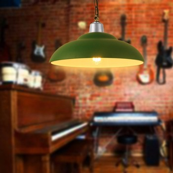 Green Modern Pendant Light Iron Lamp Restaurant Bar Coffee Dining Room Living Room LED Hanging Light Fixture for Home Lighting