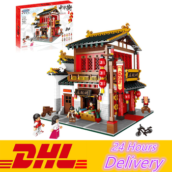 XingBao 01001 2787Pcs Chinese Style The Chinese Silk and Satin Store Set Educational Building Blocks Bricks Model Kit Toys Gift