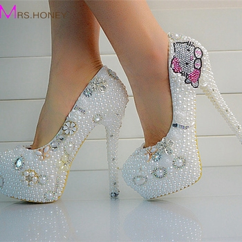 Aesthetic Pearl Rhinestone Wedding Shoes Ultra High Heels Bridal Shoes Wedding Platform Crystal Shoes the Banquet Formal