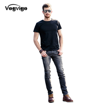 VOGVIGO 2017 Spring Jeans Men Classic Grey Solid Jeans Fashion Slim Fitness Mid Waist Male Jeans Homme